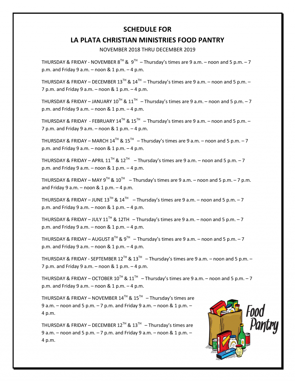 image-760415-SCHEDULE_FOR_LA_PLATA_CHRISTIAN_MINISTRIES_FOOD_PANTRY.w640.png